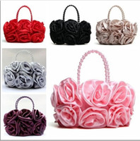 Wholesale Fashion Women s Satin Rose Flower Handbag Bag Purse Makeup Sexy Bridal Wedding Evening Party Clutch Bag