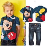 bb jeans - 2016 Mickey short sleeve jeans boy fashion suits cheap kids summer cartoon shirt BB casual clothes can choose size set
