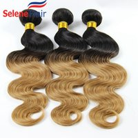 Cheap 60% Off Two Tone Color 1B 27# Body Wave Ombre Brazilian Human Hair Weaves Bundles Extension Double Weft Very Strong