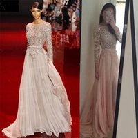 Wholesale 2016 Bling Bling Evening Gowns With Sleeves Sheer Neck Floor Length Beads Crystal Prom Dress Real Image Celebrity Red Carpet Dress