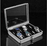 aluminum jewelry display case - new Aluminum surface watch box Jewelry Wristwatches Display Case Storage Square Box for Grid