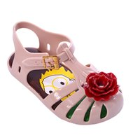 Wholesale Choice Color Rose - OEM Mini Melissa Aranha Pequeno Principe Slingback Rose flower style shoes PVC Kids Shoe 4 color choices Size 6-11(Toddler)