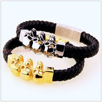 Wholesale Cool Silver Skull Skeleton Stainless Steel Bracelet Mens Gift Black Braided Genuine Leather quot