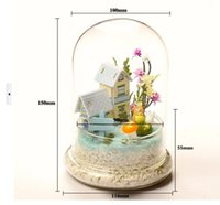 preserved flower - 2pcs Transparent glass cover DIY creative landscape microscopic glass cake cover preserved flower Flower preservation cover