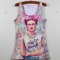Wholesale Cheap Hot Harajuku Women Sexy Tops Frida Kahlo Tank Tops Vintage Fitness Singlet Sleeveless Clothing Woman Vests Printed Summer