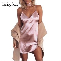 Wholesale Elegant pajama halter slip dress Women sexy short summer dress party beach sundress soft red vestidos