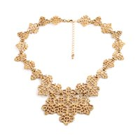 acrylic textures - 2016 Hollow out flowers gold plated necklace texture Fashion Jewelry Factory Supply Lead Nickle free