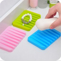 Wholesale 1 Multifunctional Candy Color Soap Dish Silicone Bathroom Soap Holder Jewelry Holder Soapbox Plate Tray Drain