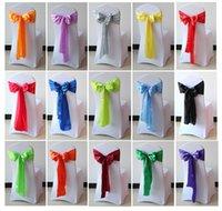 Acheter Arcs décorations mariage-Livraison gratuite 25pcs 18 * 275cm haute qualité satin chaise châssis arc pour hôtel mariage Banquet Décoration dans 20 couleurs