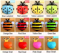 Wholesale Animal Cartoon Creative ladybug chuck toothpaste tooth brush holder suction hooks Household Items toothbrush rack used in bathroom