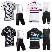 cycling jersey wholesale - 2016 Team SKY Short Sleeve Cycling Jerseys Set Men Summer Cycling Clothing SKY Yellow Cycling Top Shirts Bib Shorts Kits Maillot Ciclismo