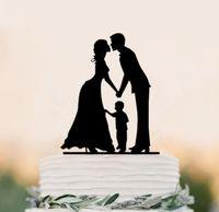 По уходу за шерстью принадлежности Цены-Семейный стиль Blacek акриловые Свадебный торт Топпер Невеста и жених торт Toppers с маленьким мальчиком Свадебные украшения Поставки бесплатную доставку