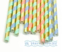 bar mitzvah - 500pcs Gold Metallic Blue Pink Mint Striped Straws Wedding Bar Mitzvah Boy Baby Girl s Shower Blue and Gold Paper Straws