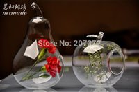 Wholesale 2pcs set Transparent Terrarium Borosilicate Crystal Glass Flower Vase Apple Shape Tabletop Vases Home Wedding Decoration