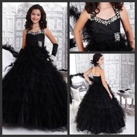 beautiful dresses for teens - 2016 Beautiful Pageant Dresses for Teens Sexy Halter Bling Crystal Puffy Tiered Black Backless Princess Flower Girl Gowns Fast Shipping