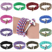 Wholesale 2016 Anchor bracelets navigation pirate Infinity bracelet Wrap Rope Charm Fish Hook hope wristband With Paracord For Men Women Miansai Style