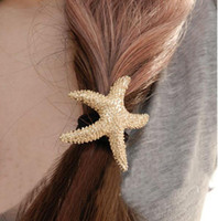 accesories for woman - Hot Sell Fashion Hair Ornaments Gold Plated Starfish Hair Accesories Star hair bands for women DHF097