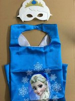 Wholesale J Double side cartoon kids Frozen Princess Capes and masks Party costume cm Satin fabric for cosplay Halloween Children Capes