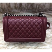 Wholesale Fab Price Medium CM Classic Style Le Boy Dark Red Genuine Caviar Real Leather Plaid Flaps Shoulder Chain Bags Vintage Gold Silver Hardware