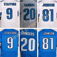Wholesale Best quality jerseys Cheap Men s Matthew Stafford Barry Sanders Johnson elite jerseys White and Blue Size M XXXL