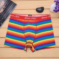 Wholesale Colorful Mens Underwear Rainbow Boxers Gay Pride Rainbow Stripes Cuecas Boxer Homme penis pouch Cueca Boxer Men