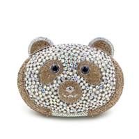 Wholesale Khaki Piggy Shap Luxury Crystal Clutch Purse Women Evening Clutch Bag Wedding Bag L1005