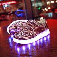 Wholesale LED Shoes For Kids Casual Shoes Gold Silver Pink Color Shoes Colorful Glowing Unisex Sneakers USB Charging Light Shoes Leisure