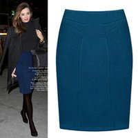 Wholesale High quality Autumn winter thicken plus size career half skirt women woolen bust bag step corset OL hip midguts pencil skirt
