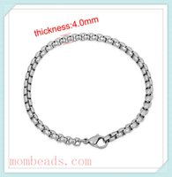 Wholesale 4 mm stainless steel Rounded box Chain Bracelets For Women With Lobster Clasp For jewelry Making fit Pandora Chamila troll Charms Beads