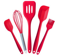 Wholesale Silicone Kitchen Utensils Set Pieces With Spatulas Wisk Brush Turner in Hygienic Solid Coating for Baking Grilling Cooking Utensils