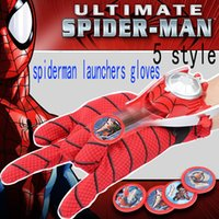 Wholesale Spider Man Toys Gloves Emitter Darts Toys Ejection Wrist Catapult Launcher Elastic Gloves Children Kids Dress Up Toys set WX C11