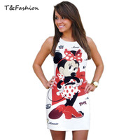 animal empire - 2016 new Sexy Short Dresses White O Neck Sleeveless Fitted Dress with Cute Pattern in sizes