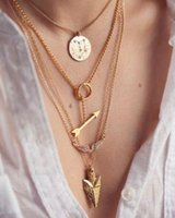 Wholesale 2015 summer style layer arrow design necklace pendant charm gold choker necklace women jewelry HJIA534