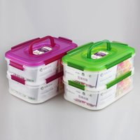 airtight food containers - YOOYEE Brand Item446 Easy Sealing Microwave and Airtight Food Grade Plastic layers Food Storage Containers With Handl