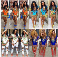 Wholesale 2016 new hot sale women summer dress Traditional African Print Dashiki Dress Casual Straight Print O Neck Above Knee Mini dresses