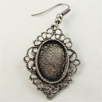 antique silver cameo earrings - Earrings Stud Earrings mm Antique Style Silver Tone Cameo Setting inner18 mm Earring Hook hook decor