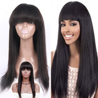 Wholesale Light Yaki Full Lace Wigs With Baby Hair Human Hair Lace Front Wig With Full Bangs Malaysian Yaki Straight Wigs For Black Women