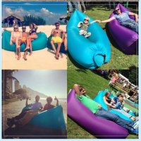 Wholesale Colorful Portable inflatable air lounge sleeping thick nylon bag sofa lazy bed for beach outdoor camping indoor