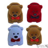 bear jewelry box - New Women Velvet Ring Box Jewelry Display Storage Lovely Cute Bear Shape Flocking Ladies Favor Earring Organizer Colors Random