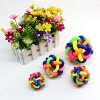 Wholesale Pet Dog Cat Rubber Ball Fun Play Toy With Bell And Colorful CM For Sport Training