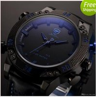 automatic digital clock - Shark Brand Sports Watches Black Blue Dual Time Auto Date Alarm Leather Band LED Male Clock Analog Military Quartz Men Digital Watch