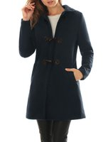 Wholesale Women Turn Down Collar A line Worsted Toggle Coat Blue Available for Shipment Exclusively within the U S