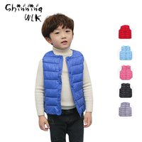Wholesale Yrs Boys Girls Solid Winter Thin Light Down Vest Children s Outerwear Coats Vests Fashion Classic Winter Coat For Girls