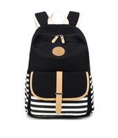 Wholesale 2016 Limited School Bags Navy Stripes Backpack The New Canvas Bag Students Backpack Bag High Quality Fabric Super Practical Large Space