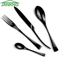 Wholesale JK Home Black Western Food Stainless Steel Cutlery Set Flatware Tableware Sets Fork Steak Knife Spoon Tea Spoon Dinnerware Set