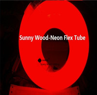Wholesale 50 meters led neon flex tube V input led sign board tube Flexible tube red color with power cord and clips LNF V