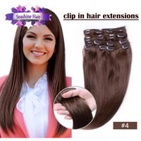 Wholesale quot quot Set Brazilian Remy Hair Clip In on Human Hair Extensions Colors g Black Brown Blonde