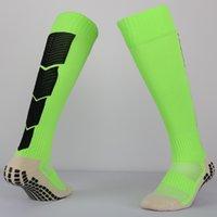 Wholesale Green Sports Anti Slip Rubber block Soccer Socks Cotton Long Football Sock Men overknee Calcetines Sports tube thickl socks