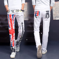 american flag drawings - Mens UK British Flag Jeans Pants Colored Drawing Tower Printed Fashion SKinny White Jeans Casual Stretch Jeans Trousers for Men