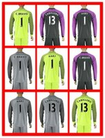 Wholesale Hot Sell Uniforms Kit Manchester soccer Jersey City C Bravo Hart Caballero Green Gray Black Goalkeeper Long Sleeve Jerseys